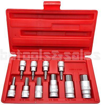 "10pc 3/8"" & 1/2"" Drive Hex Key Allen Head (METRIC) Socket Bit Set 3-17 MM"