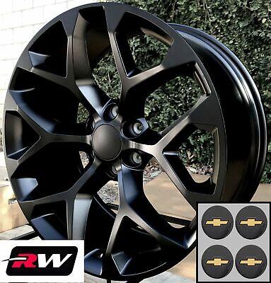 - 20 inch Chevy Silverado 1500 OEM Specs Snowflake Wheels Satin Black Rims 20 x9