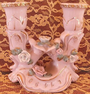 - Vintage Pink & Gold Porcelain Double Candlestick Holder Fancy White Roses