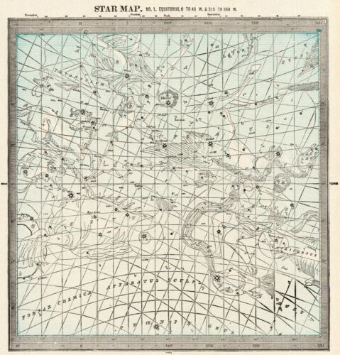 1900 Antique ASTRONOMY Print Star Constellation Map Chart Astrology Map 8339