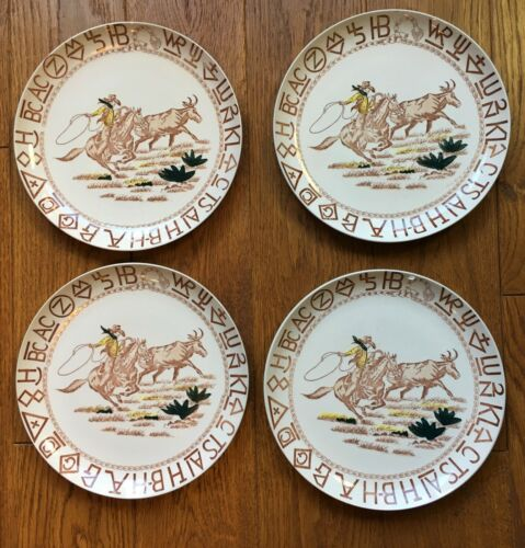 Lot 4 Western Cowboy Horse Rodeo Steer Lasso Branding Ranch Symbols Dinner Plate