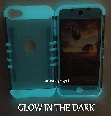 For iPod Touch 5th 6th 7th Gen - Gray GLOW IN THE DARK Hybrid Armor Impact Case ()