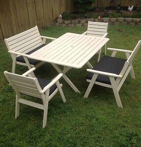 Wooden Outdoor table and chairs setting Regents Park Logan Area Preview