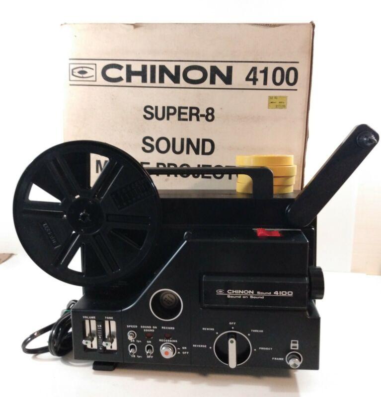 Chinon 4100 Super 8 Film Sound Movie Projector in Box w/Film & Manual *Read*
