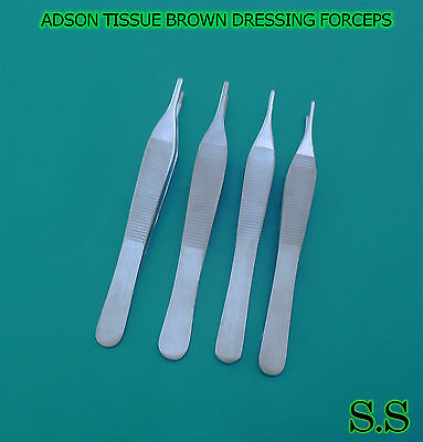 Set Of 4 Assorted Adson Tissue Brown Dressing Forceps 4.75 Surgical Instruments