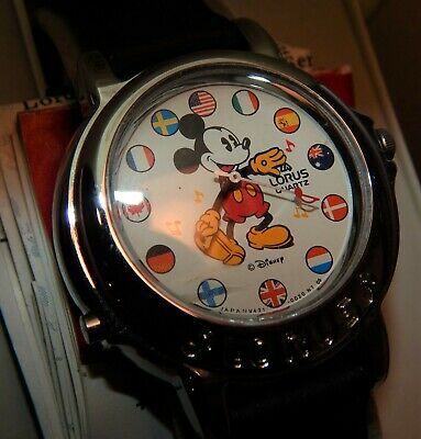 Vintage 1963 NOS Lorus Its a Small World Mickey Mouse Watch w Box / RTR005
