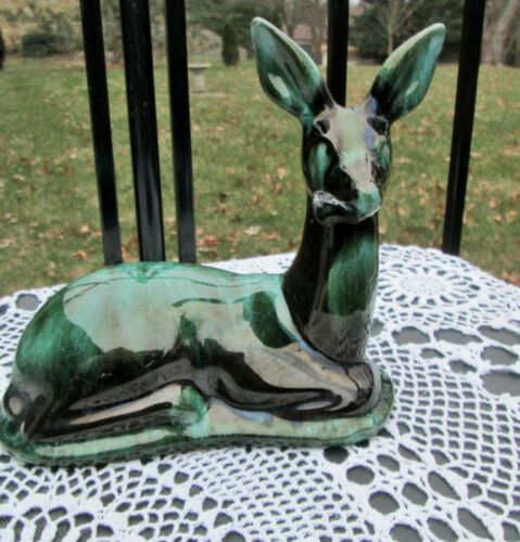 Vintage Blue Mountain Pottery Deer Figurine Laying Green Drip Glaze Red  Clay