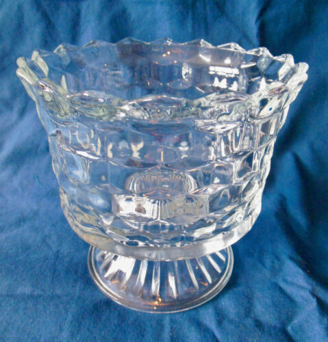 """Vintage Indiana Clear Glass Cubed Footed Candy Dish/Bowl (6"""" D X 5.5"""" H) VG(#22)"""