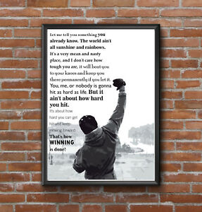 INSPIRATIONAL MOTIVATIONAL ROCKY BALBOA QUOTE PRINT POSTER A4 GYM WORKOUT