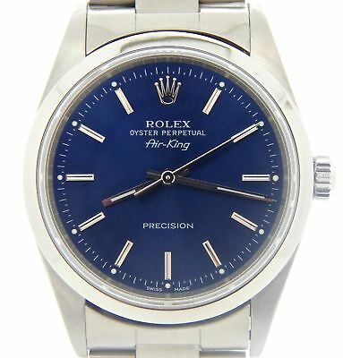 Rolex Air King Precision Mens Stainless Steel Watch Blue Dial Oyster Band 14000M