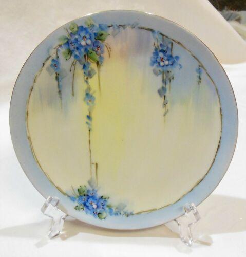 Vintage Porcelain Art Deco Blue & White Wisteria Bread & Butter Dessert Plate