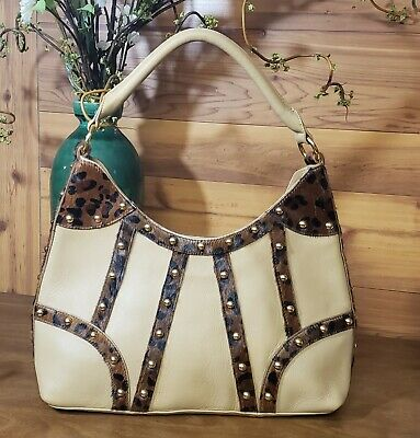 Beverly Feldman Leather Purse With Faux Fur Trim, Large, Tote, Studded, Beige, used for sale  Lincoln