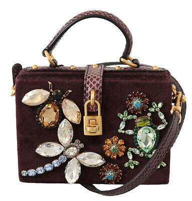 DOLCE GABBANA Bag Purse Box Purple Velvet Leather Crystal Shoulder RRP (Dolce And Gabbana Purple Purse)
