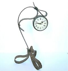 UNIQUE TWISTED METAL TABLE CLOCK, ROMAN NUMERAL, VERY NICE