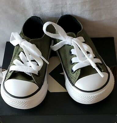 Converse All Star Infant/Toddler Size 4 Boy's Or Girl's Army Green Low Shoes