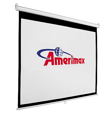"65"" Manual Pull Down Auto-Lock Projector Projection Screen Matte White New 16:9"