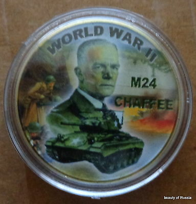 WWII M24  CHAFFEE     24K GOLD  PLATED 40 mm   Challenge COIN