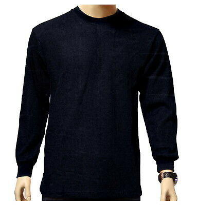 Men's Long Sleeve Waffle Thermal Shirt Tee Crew Neck BLACK