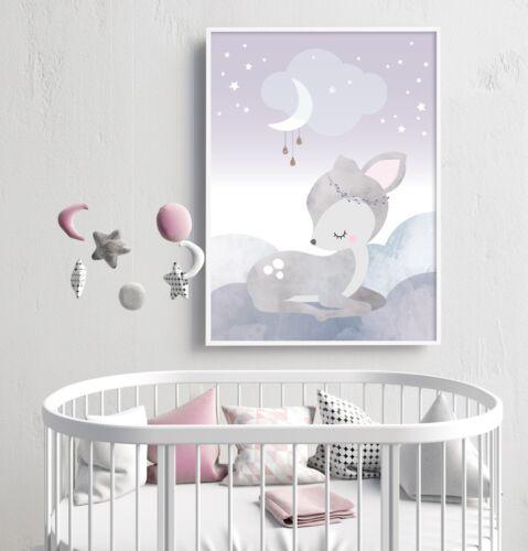Sleepy Deer - Nursery Print - Wall Art - Baby Room - Kids Bedroom - Bambi Baby