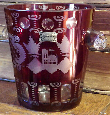 Vintage Egermann ICE BUCKET Ruby Bohemia Czech Glass Cut to Clear Handles Signed
