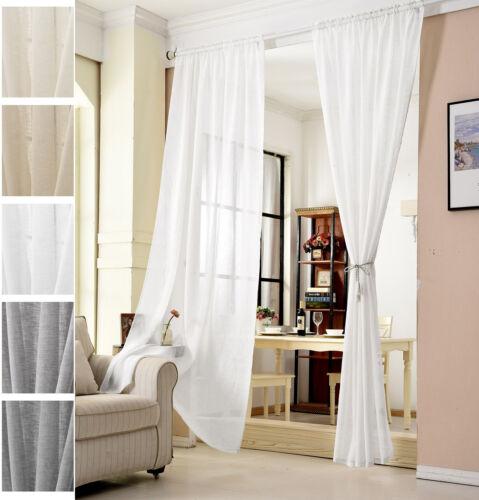 Gardinen Stores Kräuselband Vorhang transparent  Schal Voile Leinen Optik #630