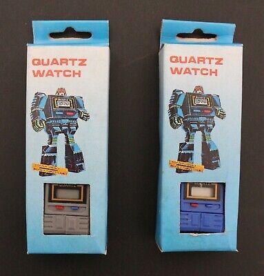 1980s Unbranded TAKARA-LIKE KRONOFORM TRANSFORMERS BLUE + GRAY QUARTZ WATCHES