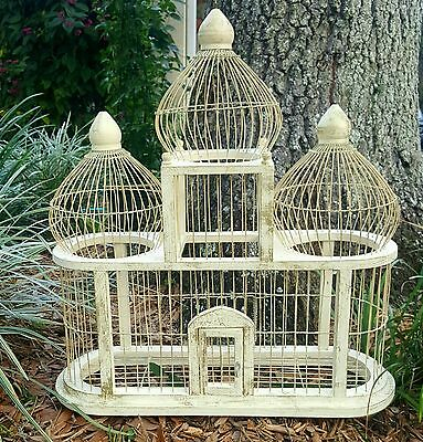 Vintage Victorian BirdCage House Wood Wire Triple Dome Large Antique white gold