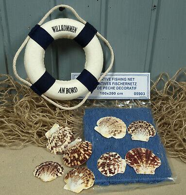 Maritime Deko: Fischernetz 1x2m blau, 8 Muscheln, 15cm Rettungsring b/w