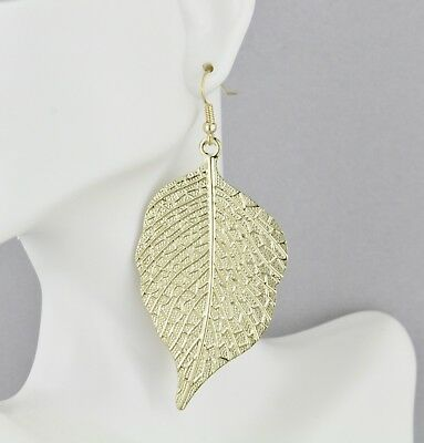 """Gold tone leaf earrings lightweight dangle leaves 3"""" long textured stamped"""