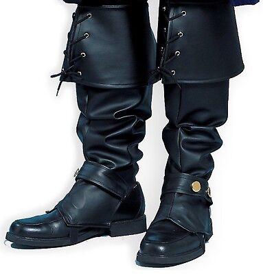 PIRATE Boot Tops Covers Deluxe Black Men Renaissance Colonial Santa Claus