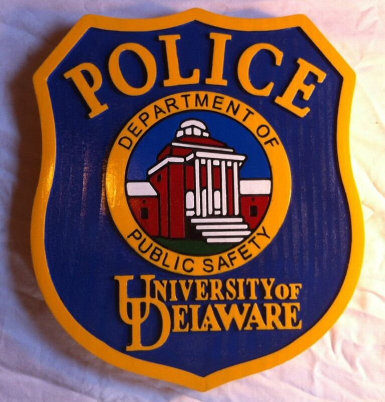 Police Department Delaware Patch Sign 3D routed  award plaque Custom Carved