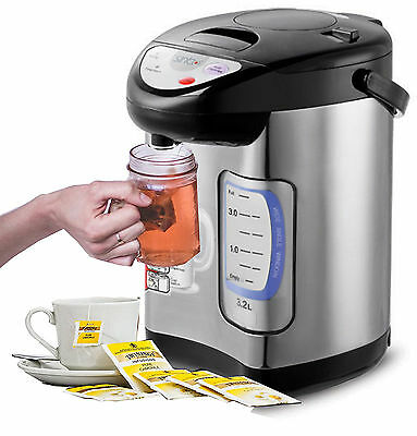 Thermopot Heiß Wasser Spender Kocher Teekocher Dispender 3,2L Edelstahl NEU