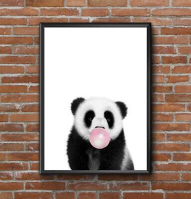 BABY PANDA BUBBLEGUM NORDIC MODERN SCANDINAVIAN MINIMALISTIC ANIMAL ART PRINT  segunda mano  Embacar hacia Spain