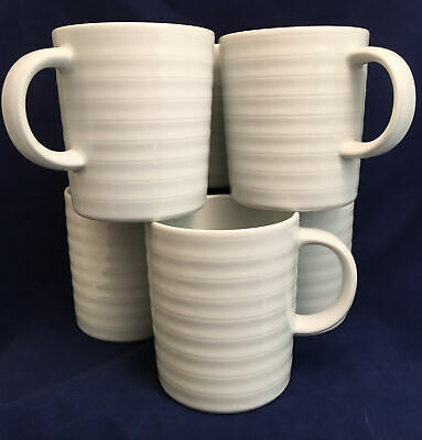 Set of 6 Crate & Barrel Mugs White Ribbed Spal Porcelain Portugal Roulette