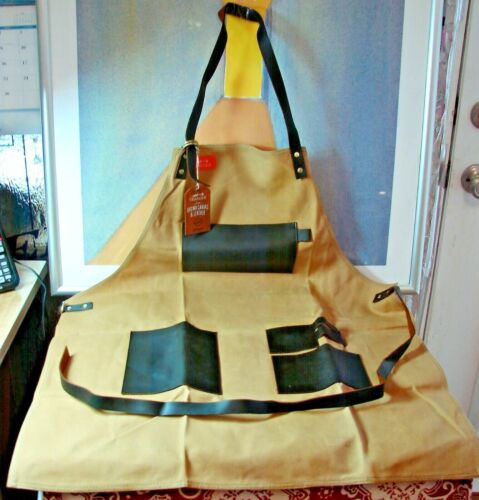 Brand New TRAEGER GRILL APRON APP196 Brown Canvas & Leather Trim