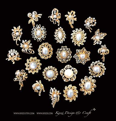 24 pc Assorted Alloy Gold Pearl Rhinestone Crystal Brooches Wedding Bouquet Cake