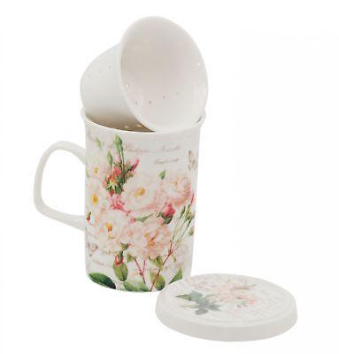 Tee-Tasse Set mit Sieb Deckel Porzellan White Rose 320 ml von DUO in Geschenkbox White Rose Tasse