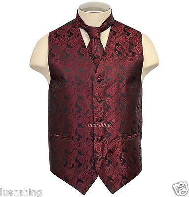 New Brand Q formal Men's Paisley Vest Tuxedo Waistcoat_Neckt