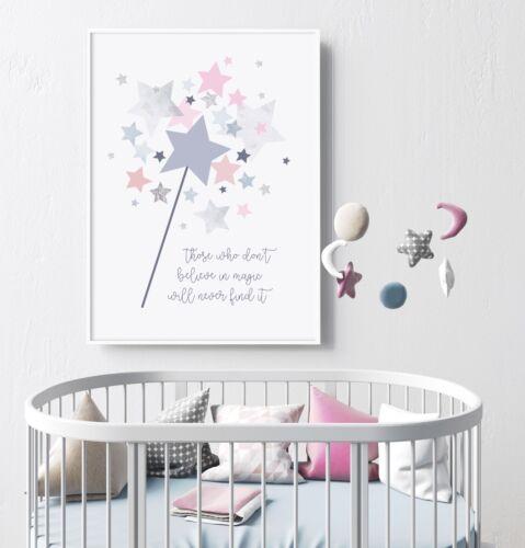 Believe in Magic - Nursery Print - Wall Art - Kids Decor - Wand - Pink Stars