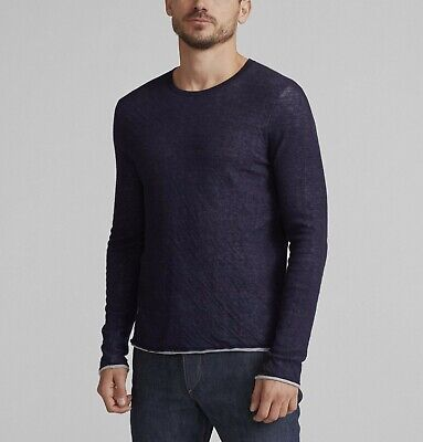Rag & Bone Men's Navy Cotton Wool Double Knit Crew-Neck Long Sleeve T-Shirt $225