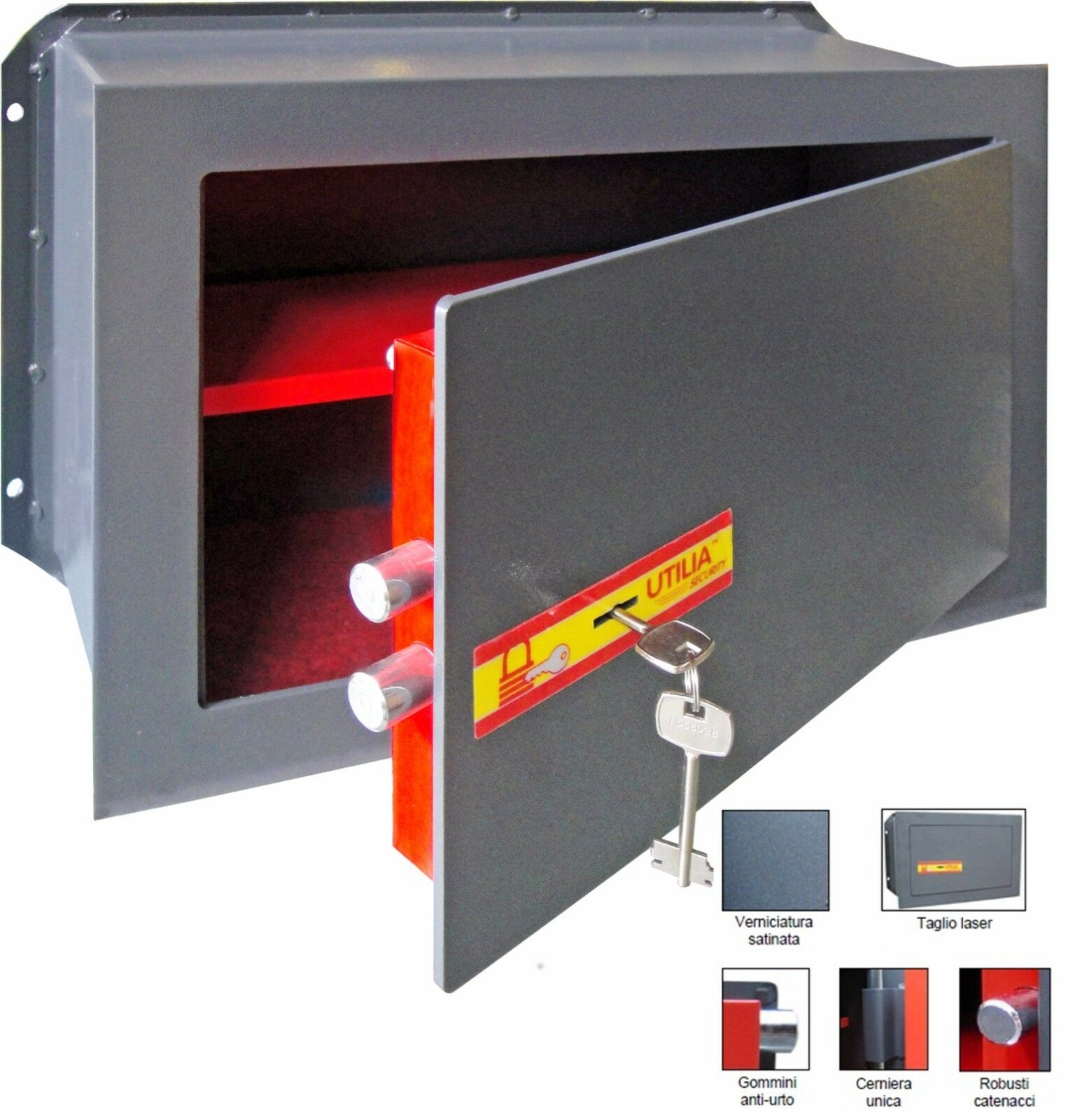 Cassaforte a muro Utilia Security acciaio con chiave 2 catenacci 2 mandate