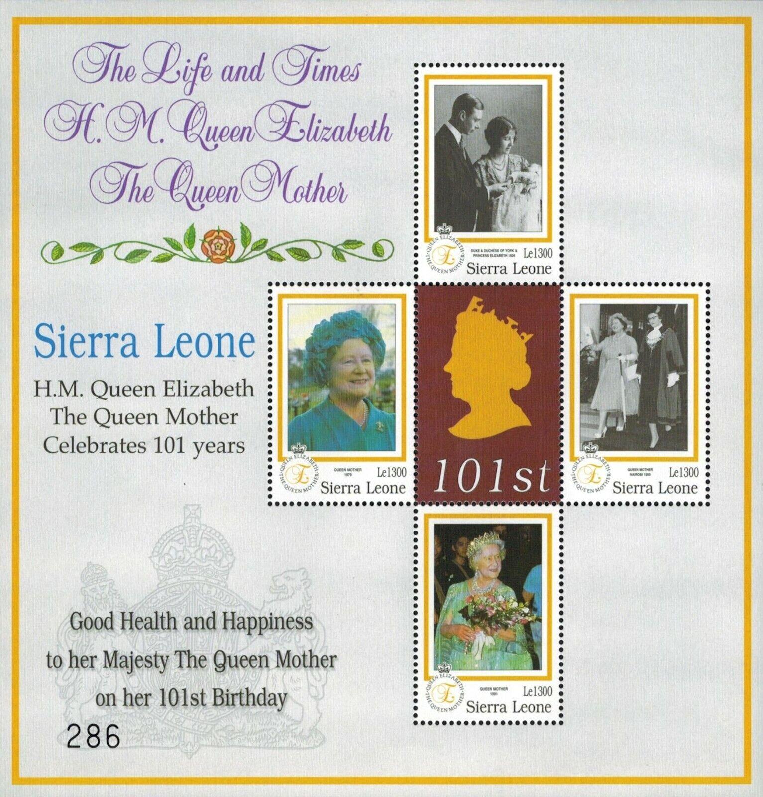 MODERN GEMS -Sierra Leone - Queen Mother s 101st Birthday - Sheet Of 4 - MNH - $0.89