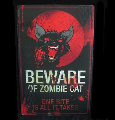 Metal Tin Sign Zombie Warning Cat Scary Black Halloween Party Decoration 11