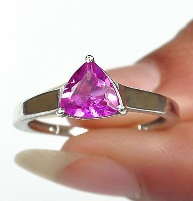 1.30Ct 925 Sterling Silver Natural African Pink Tourmaline Trillion Shape Ring
