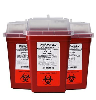 1 Quart Size Pack Of 3 Sharps Disposal Container Oakridge Products