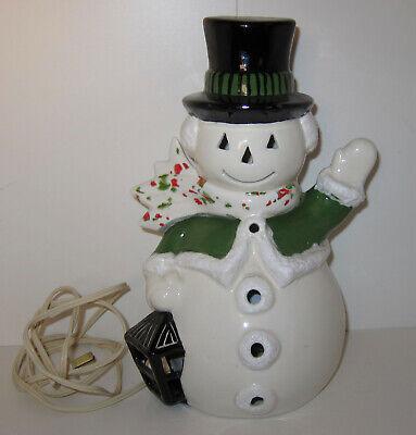 "Vintage Light Up Ceramic Snowman 9"" Christmas Lantern RARE Handpainted Green"