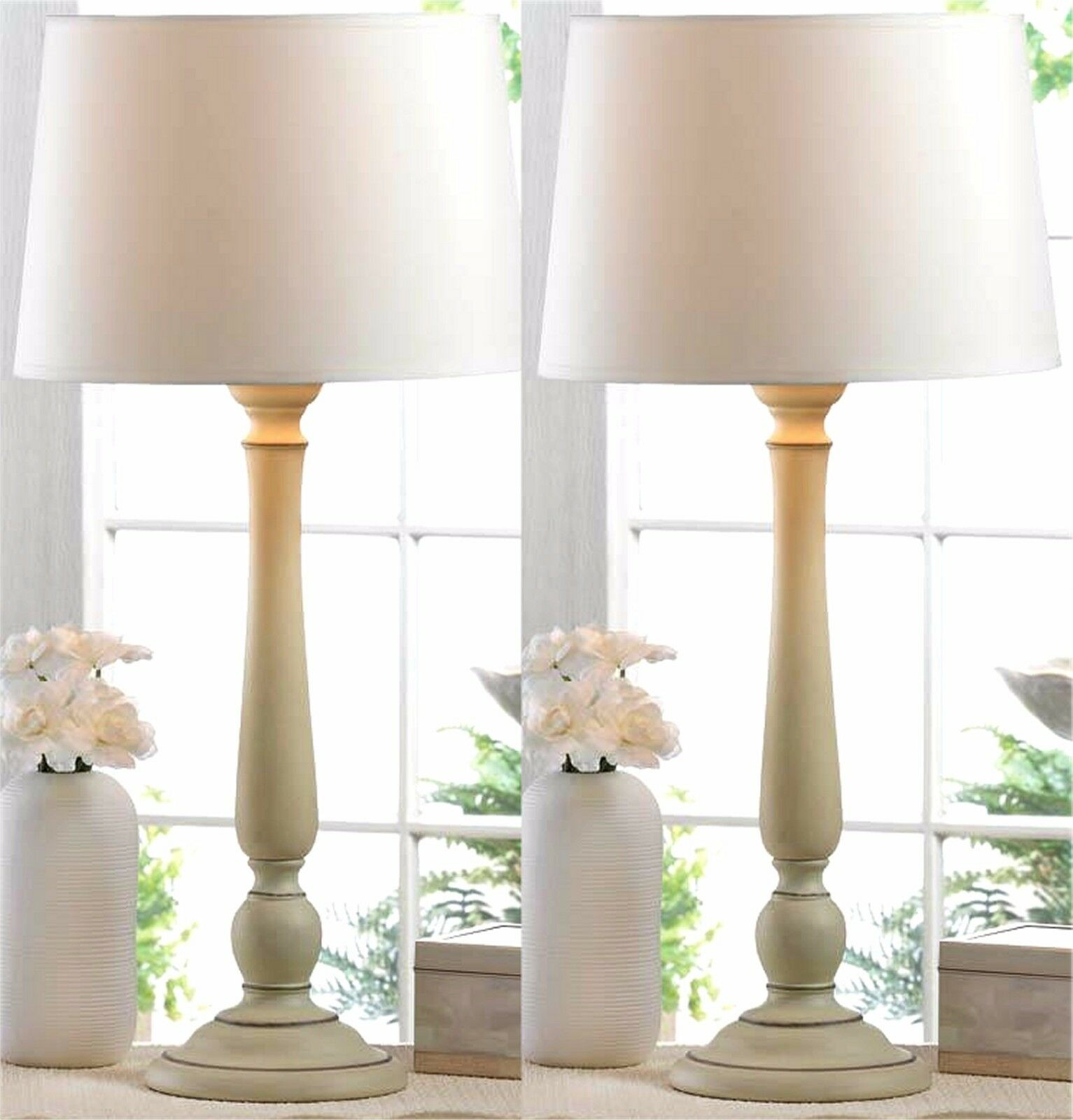 """Set of 2 * So Pretty * 22.8"""" DOVER IVORY COLOR TABLE LAMPS W"""