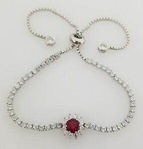 925 Sterling Silver Red Ruby & Round Diamond StonesTennis Adjustable Bracelet