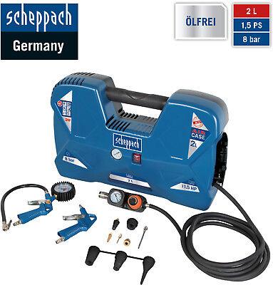 Scheppach tragbarer Kompressor AIR CASE 8bar 1.5PS 2.2 Liter AIRCASE mit Zubehör
