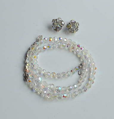 Vintage Set Aurora Borealis Crystal Necklace & Earrings Cluster Faceted Bride